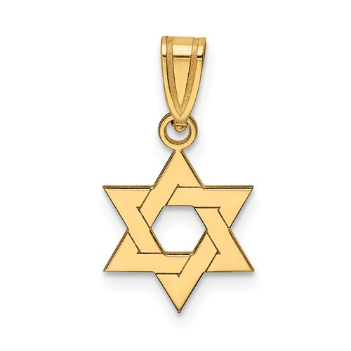 14k Yellow Gold Star of David Pendant 3/8in
