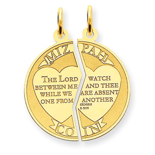 14kt Yellow Gold 3/4in Mizpah Charm
