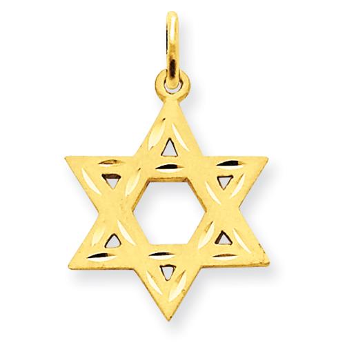 14k 11/16in Solid Satin Star of David Charm