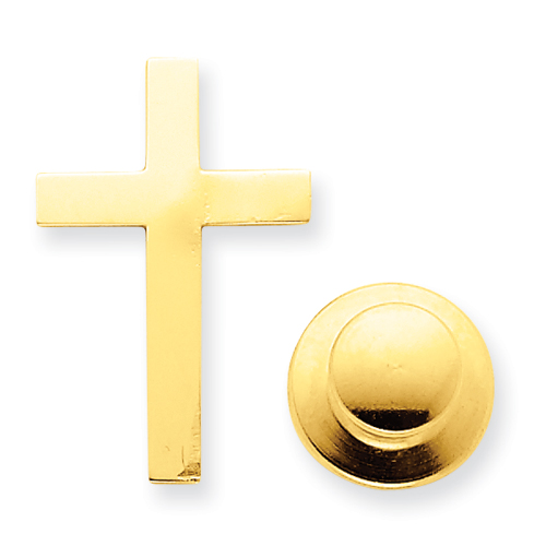 14k Yellow Gold 3/4in Cross Tie Tac