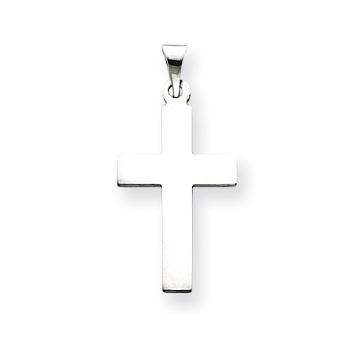 14k White Gold Flat Smooth Cross Pendant 7/8in