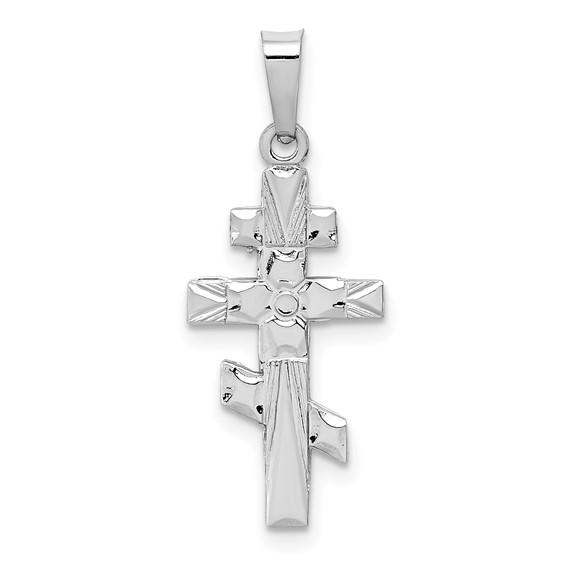 14kt White Gold 3/4in Eastern Orthodox Cross