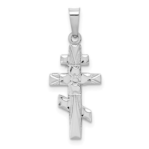 14kt White Gold 3/4in Eastern Orthodox Cross