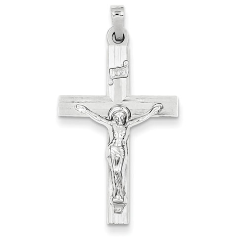 14k White Gold INRI Latin Crucifix Pendant with Lines 1 1/8in