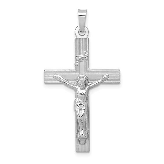 14kt White Gold 1 1/8in INRI Crucifix