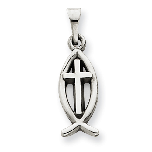 14kt White Gold 1/2in Cross  Ichthus Fish Charm