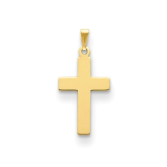 14k Yellow Gold Smooth Polished Latin Cross Pendant 7/8in