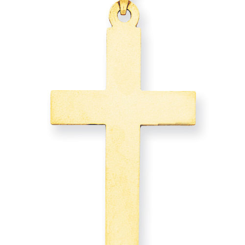 14k Yellow Gold Smooth Flat Cross Pendant 1 1/2in