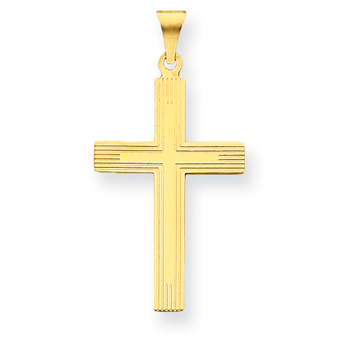 14kt Yellow Gold 1 1/8in Cross Pendant with Lines