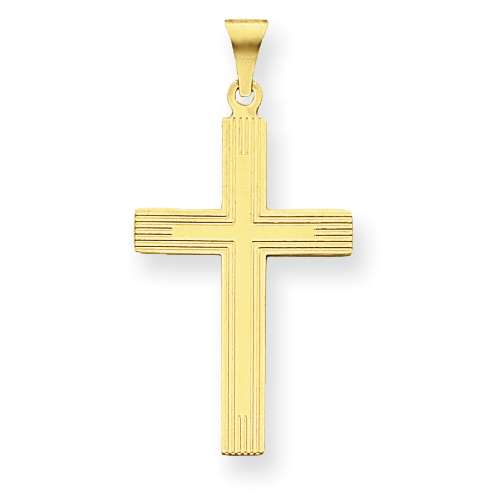 14k Yellow Gold 1 1/2in Cross Pendant with Lines