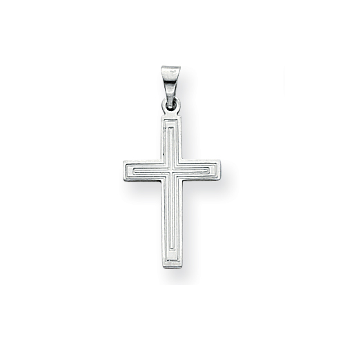 14k White Gold Polished Cross Pendant with Lines 3/4in