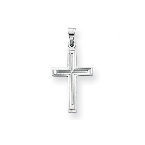 14kt White Gold 3/4in Cross Pendant