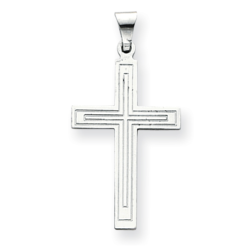 14kt White Gold Latin Cross Pendant with Lined Texture 1 1/8in