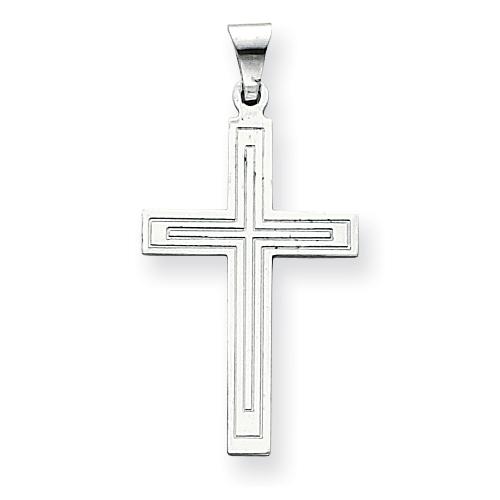 14kt White Gold 1 1/8in Cross Pendant