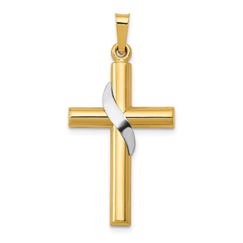 14k Two-tone Gold 1in Hollow Cross Pendant with Ribbon