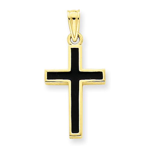 14k Yellow Gold Black Epoxy Latin Cross Pendant 3/4in