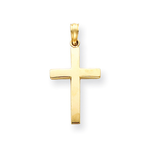 14k Yellow Gold Polished Cross Pendant 3/4in