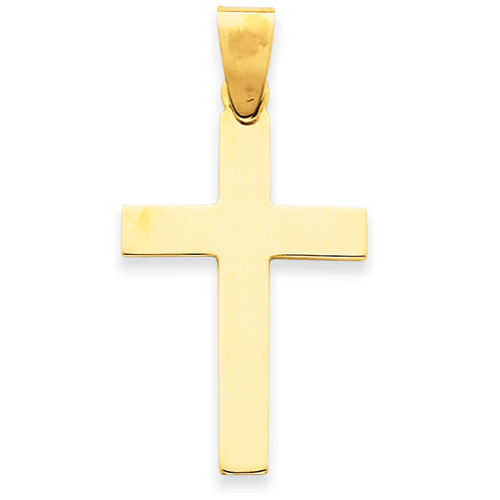 14k Yellow Gold 1 1/8in Polished Cross Pendant
