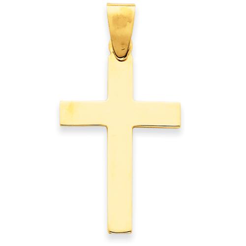 14kt 1 1/8in Polished Cross Pendant