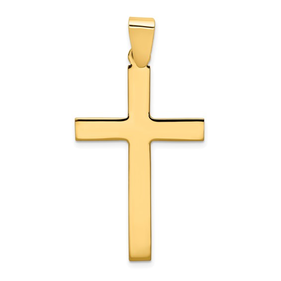 14kt Yellow Gold 1 1/2in Polished Cross Pendant