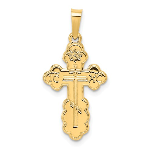 14kt Yellow Gold 3/4in Eastern Orthodox Cross