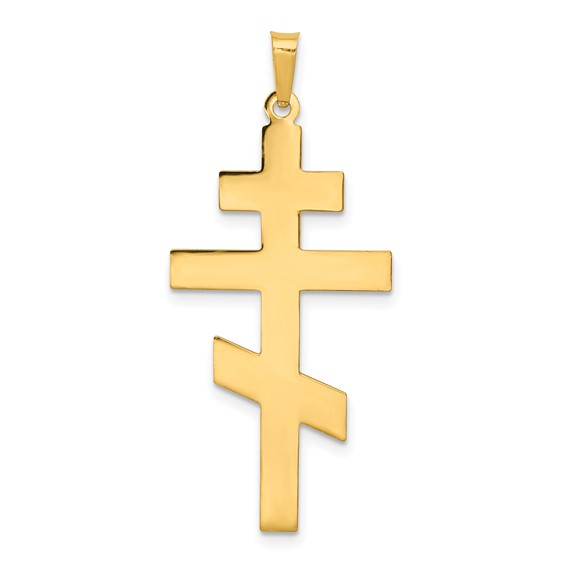 14k Yellow Gold 1 1/4in Smooth Eastern Orthodox Cross Pendant