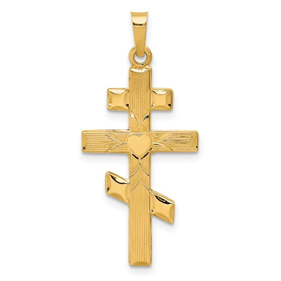 14kt Yellow Gold 1in Eastern Orthodox Heart Cross