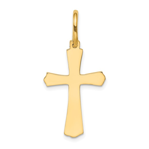 14kt Yellow Gold 15/16in Smooth Budded Cross