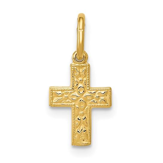14kt Yellow Gold 3/8in Fancy Beaded Cross Charm