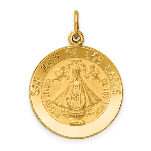 14k Yellow Gold Our Lady of San Juan Medal