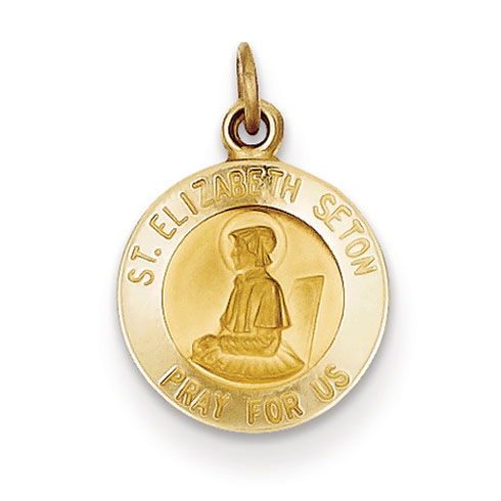14k 7/16in Saint Elizabeth Seton Medal Charm