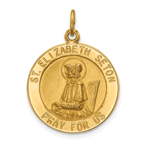 14kt Yellow Gold 3/4in Saint Elizabeth Seton Medal