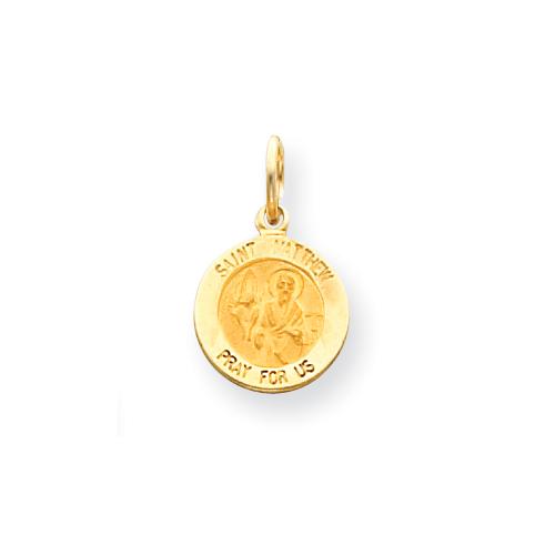 14kt Yellow Gold 7/16in Saint Matthew Medal