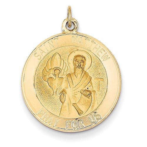 14kt Yellow Gold 3/4in Saint Matthew Medal Pendant