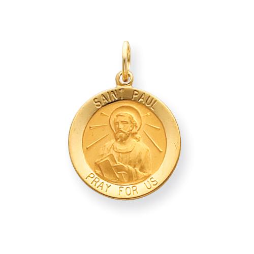 14k 3/4in Saint Paul Medal Pendant