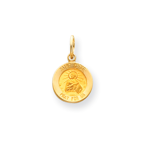 14k 7/16in Saint Peter Medal Charm