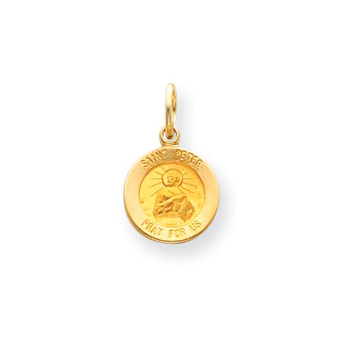 14k 7/16in Saint Peter Medal Charm
