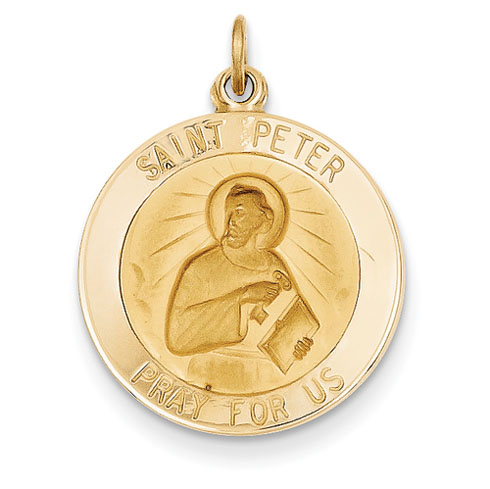 14k Yellow Gold 3/4in Saint Peter Medal Pendant