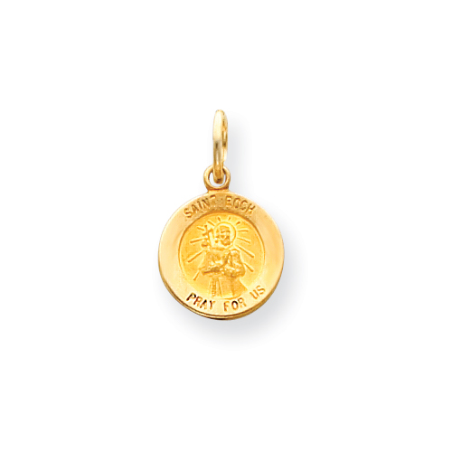 14kt Yellow Gold 1/2in Saint Roch Medal Charm