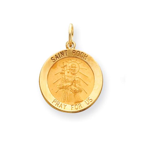 14k 3/4in Saint Roch Medal Pendant