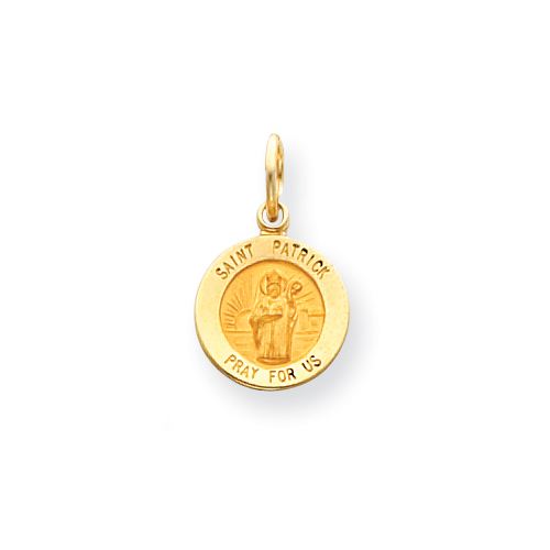 14k Yellow Gold Saint Patrick Medal Charm 7/16in