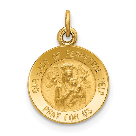 14k Yellow Gold Our Lady of Perpetual Help Medal Charm 1/2in