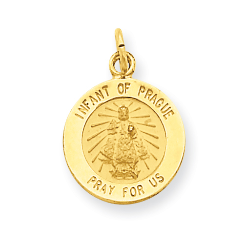 14kt Yellow Gold 7/16in Infant of Prague Medal Charm