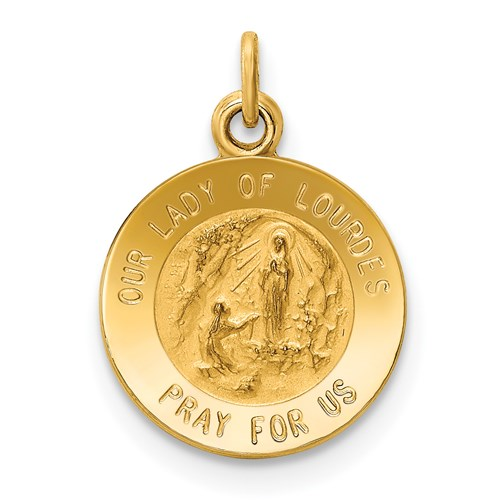 14k Yellow Gold 1/2in Our Lady of Lourdes Medal Charm