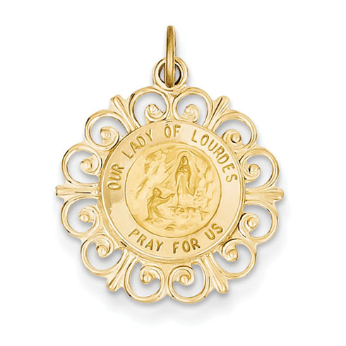 14k Yellow Gold 3/4in Our Lady of Lourdes Medal Pendant