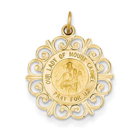 14k Yellow Gold 11/16in Our Lady of Mt. Carmel Medal Charm