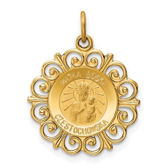 14k Yellow Gold 3/4in Matka Boska Medal Charm