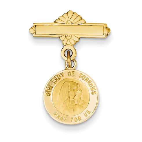 14kt 1in Our Lady of Sorrows Medal Pin