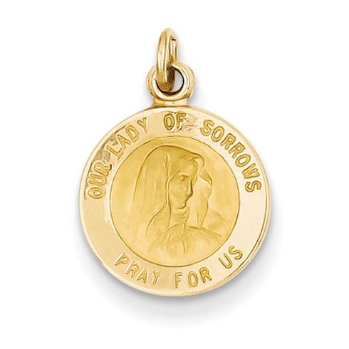 14kt 7/16in Our Lady of Sorrows Medal Charm