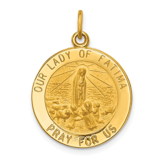 14k Yellow Gold 3/4in Our Lady of Fatima Medal